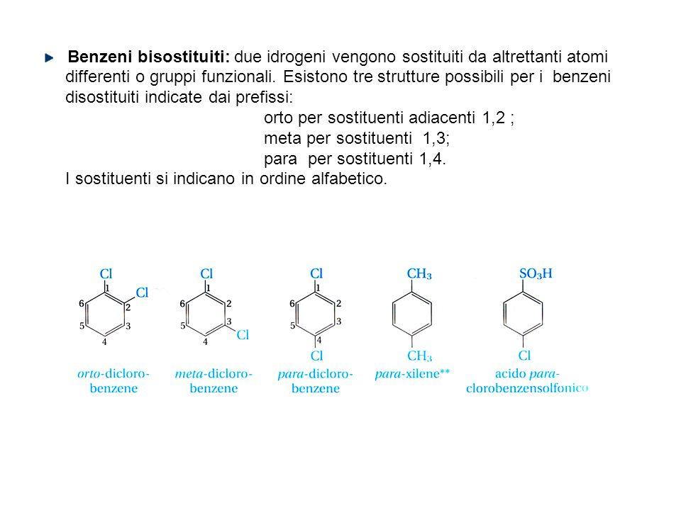 Benzeni bisostituiti: due idrogeni vengono sostituiti da altrettanti atomi differenti o gruppi funzionali. Esistono tre strutture possibili per i benz