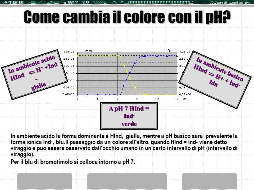 Perché gli indicatori acido base sono colorati? Lo spettro di assorbimento di un tipico indicatore acido-base, il blu di bromo timolo, conferma che la