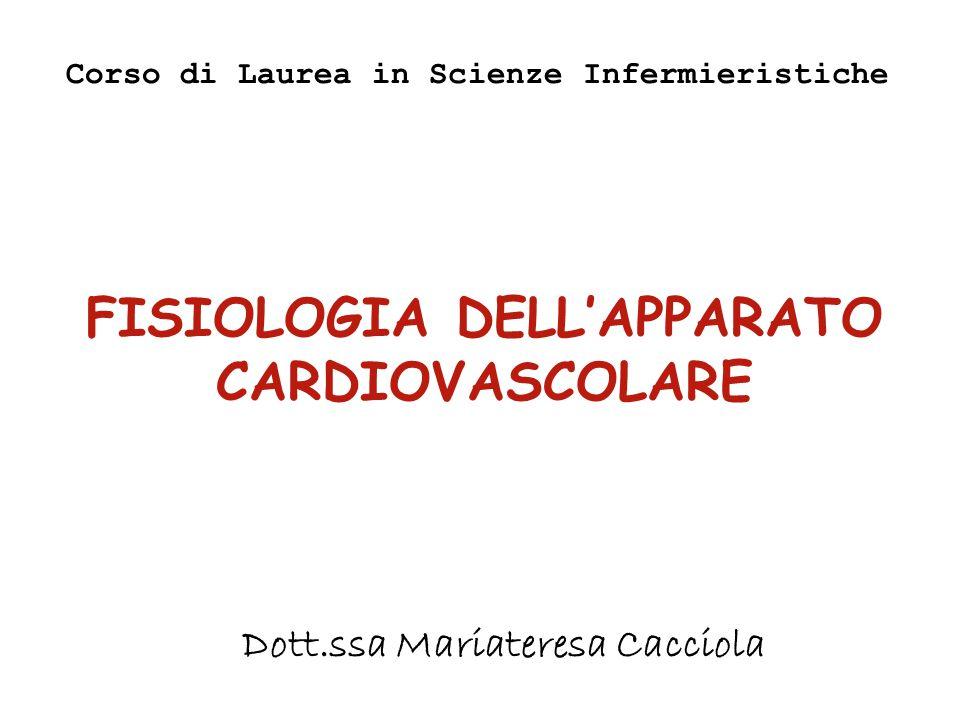 FISIOLOGIA DELL'APPARATO CARDIOVASCOLARE Corso di Laurea in Scienze Infermieristiche Dott.ssa Mariateresa Cacciola