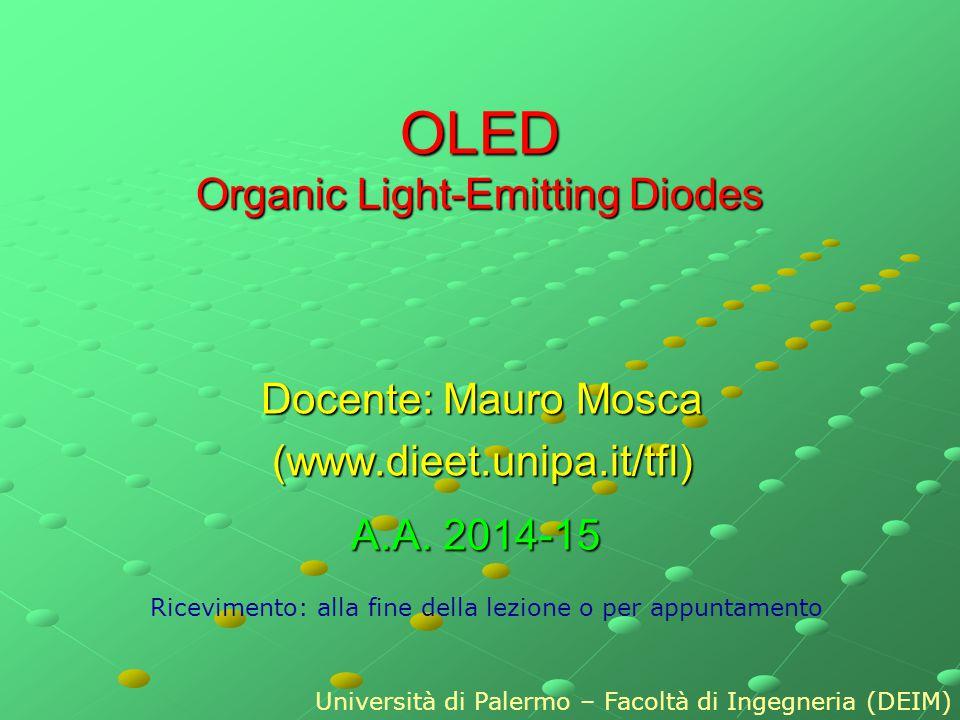 OLED Organic Light-Emitting Diodes Docente: Mauro Mosca (www.dieet.unipa.it/tfl) Ricevimento: alla fine della lezione o per appuntamento Università di