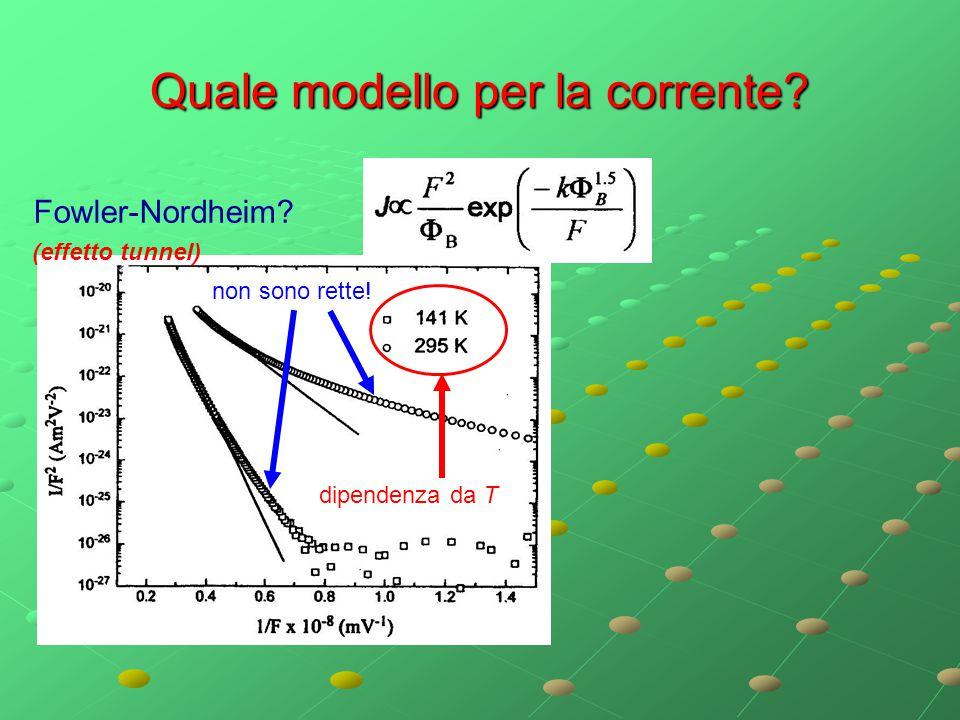 Quale modello per la corrente? Fowler-Nordheim? non sono rette! dipendenza da T (effetto tunnel)