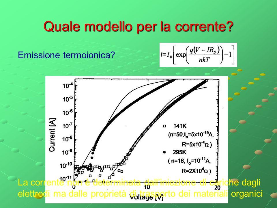 Quale modello per la corrente? Emissione termoionica? La corrente non è determinata dall'iniezione di cariche dagli elettrodi ma dalle proprietà di tr