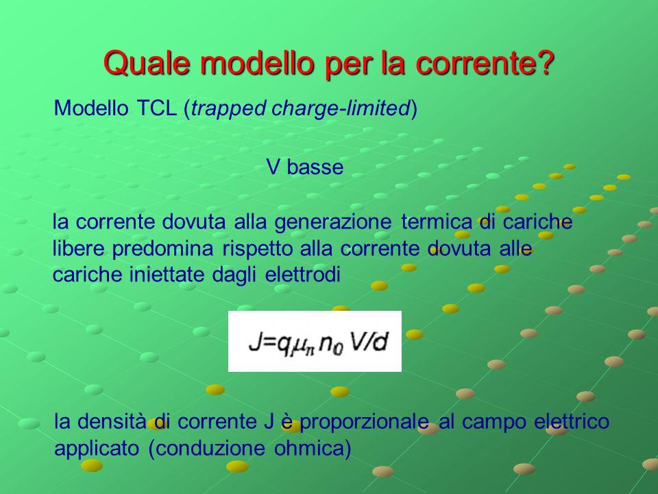 Quale modello per la corrente? Modello TCL (trapped charge-limited) V basse la corrente dovuta alla generazione termica di cariche libere predomina ri