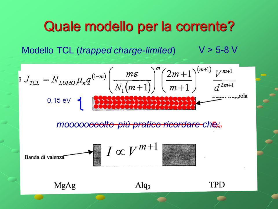 Quale modello per la corrente? Modello TCL (trapped charge-limited) 0,15 eV V > 5-8 V E Fn moooooooolto più pratico ricordare che: