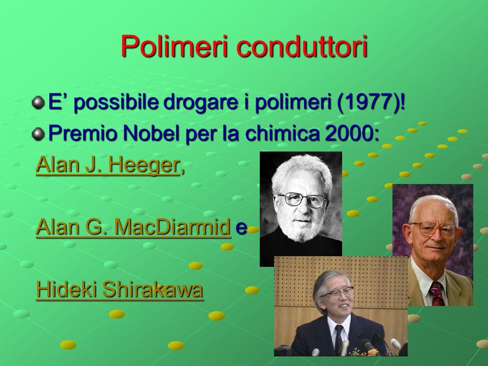 Polimeri conduttori E' possibile drogare i polimeri (1977)! Premio Nobel per la chimica 2000: Alan J. Heeger, Alan J. Heeger, Alan J. HeegerAlan J. He