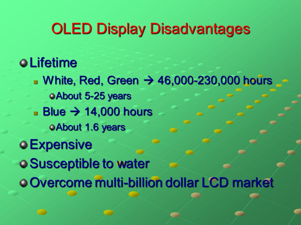 OLED Display Disadvantages Lifetime White, Red, Green  46,000-230,000 hours White, Red, Green  46,000-230,000 hours About 5-25 years Blue  14,000 h