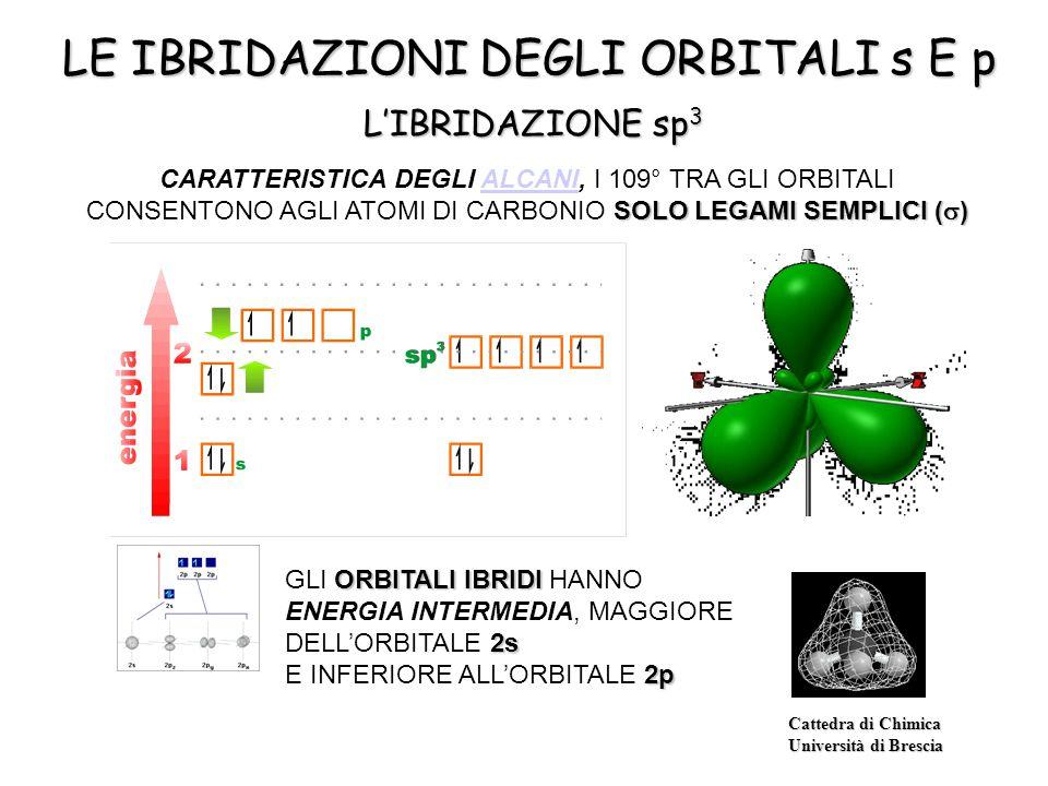 Cattedra di Chimica Università di Brescia L'IBRIDAZIONE sp 3 LE IBRIDAZIONI DEGLI ORBITALI s E p ORBITALI IBRIDI 2s GLI ORBITALI IBRIDI HANNO ENERGIA INTERMEDIA, MAGGIORE DELL'ORBITALE 2s 2p E INFERIORE ALL'ORBITALE 2p SOLO LEGAMI SEMPLICI (  ) CARATTERISTICA DEGLI ALCANI, I 109° TRA GLI ORBITALI CONSENTONO AGLI ATOMI DI CARBONIO SOLO LEGAMI SEMPLICI (  )ALCANI
