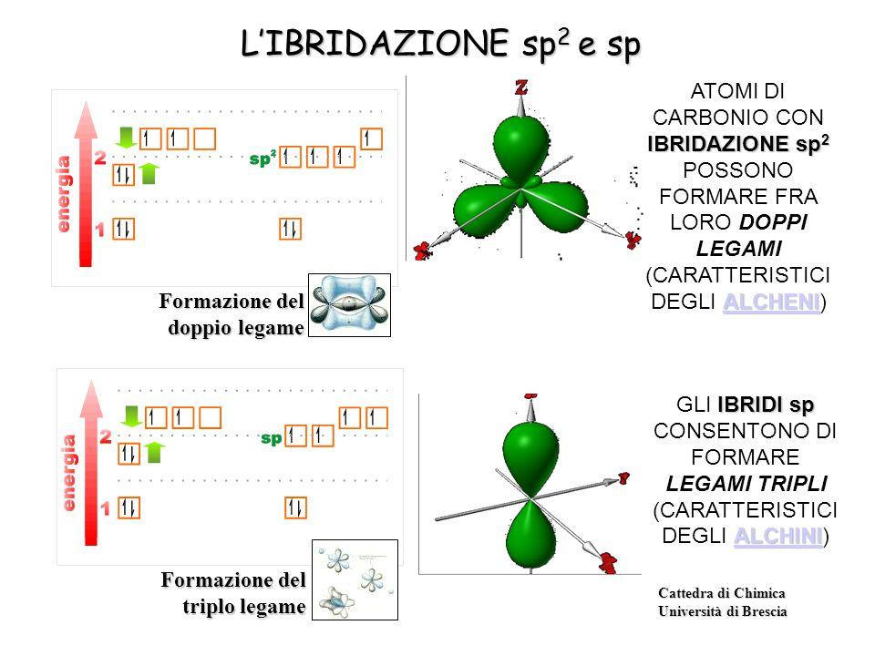 Cattedra di Chimica Università di Brescia L'IBRIDAZIONE sp 2 e sp IBRIDAZIONE sp 2 ALCHENI ATOMI DI CARBONIO CON IBRIDAZIONE sp 2 POSSONO FORMARE FRA LORO DOPPI LEGAMI (CARATTERISTICI DEGLI ALCHENI) ALCHENI IBRIDI sp ALCHINI GLI IBRIDI sp CONSENTONO DI FORMARE LEGAMI TRIPLI (CARATTERISTICI DEGLI ALCHINI) ALCHINI Formazione del doppio legame Formazione del triplo legame