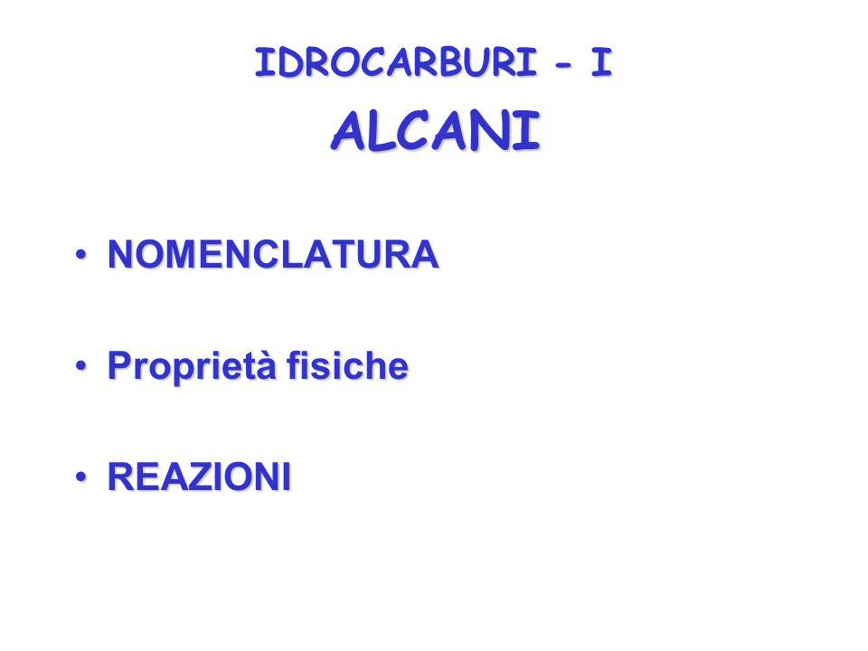 IDROCARBURI - I NOMENCLATURANOMENCLATURA Proprietà fisicheProprietà fisiche REAZIONIREAZIONI ALCANI