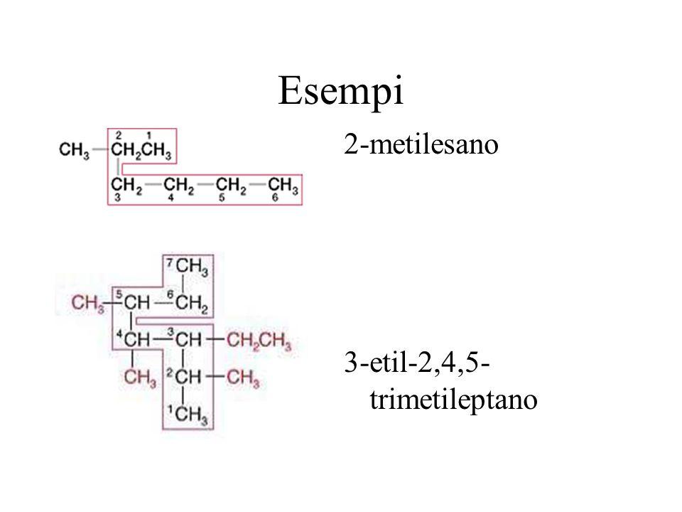 Esempi 2-metilesano 3-etil-2,4,5- trimetileptano