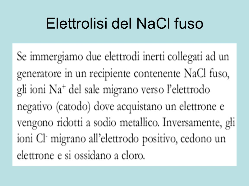 Elettrolisi del NaCl fuso