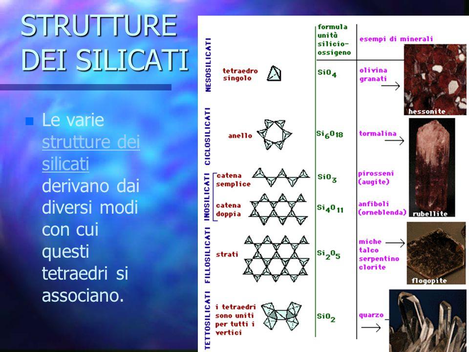 STRUTTURE DEI SILICATI n n Le varie strutture dei silicati derivano dai diversi modi con cui questi tetraedri si associano. strutture dei silicati