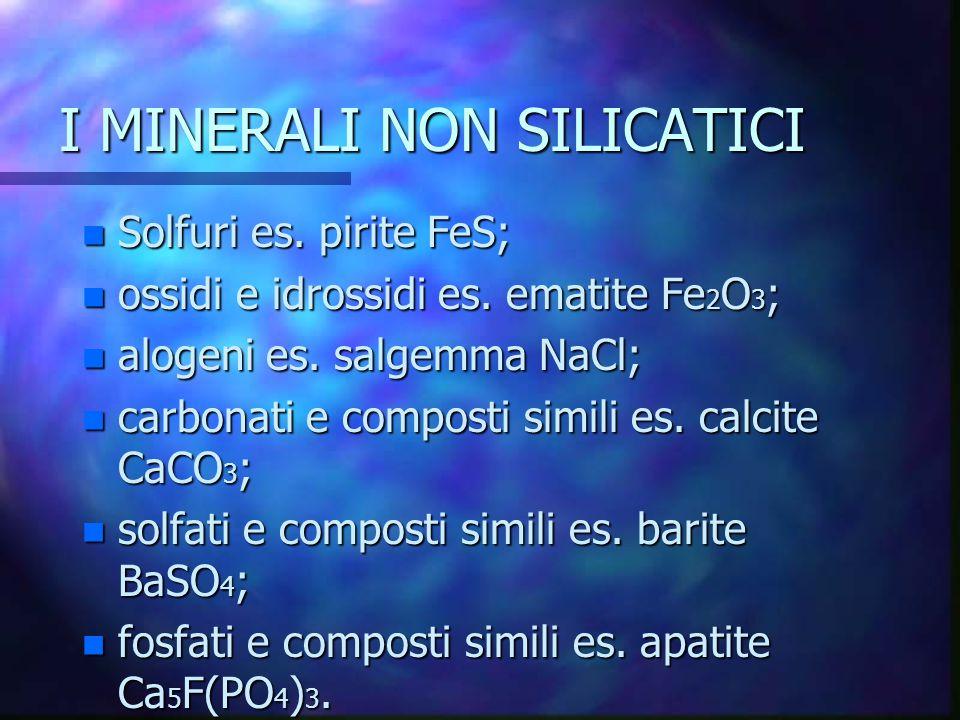I MINERALI NON SILICATICI n Solfuri es. pirite FeS; n ossidi e idrossidi es. ematite Fe 2 O 3 ; n alogeni es. salgemma NaCl; n carbonati e composti si