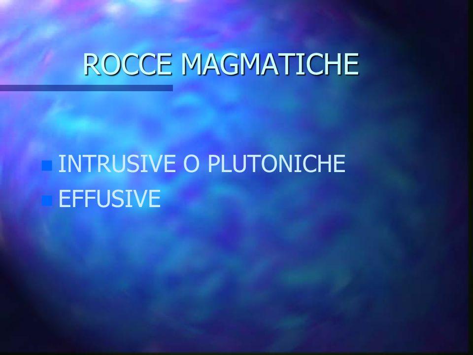ROCCE MAGMATICHE n n INTRUSIVE O PLUTONICHE n n EFFUSIVE