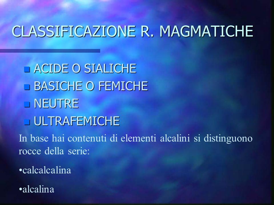 CLASSIFICAZIONE R. MAGMATICHE n ACIDE O SIALICHE n BASICHE O FEMICHE n NEUTRE n ULTRAFEMICHE In base hai contenuti di elementi alcalini si distinguono