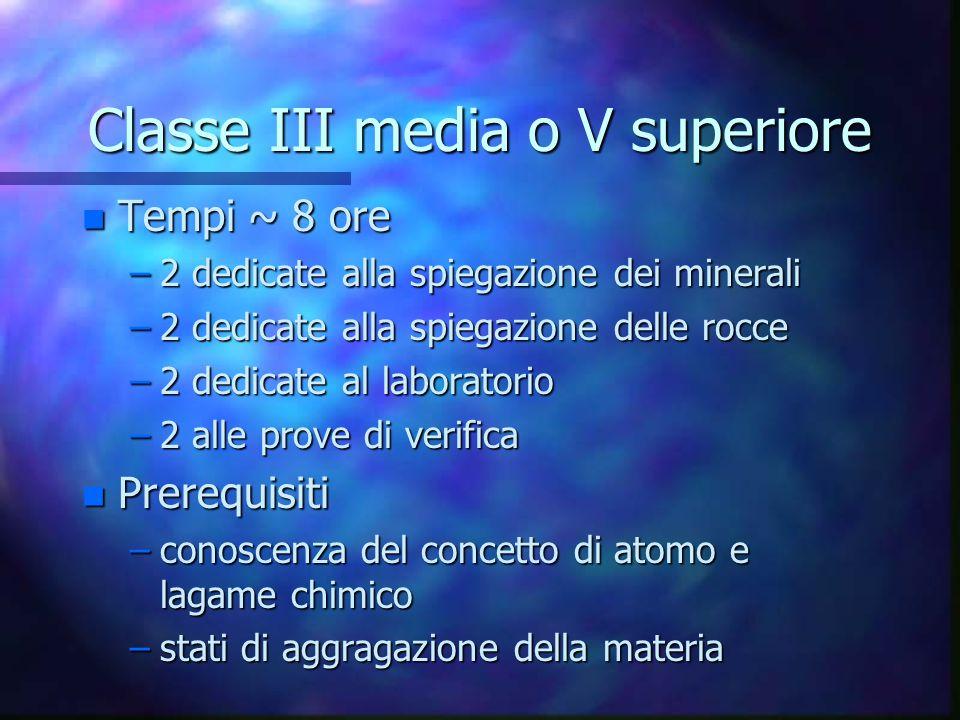 Classe III media o V superiore n Tempi ~ 8 ore –2 dedicate alla spiegazione dei minerali –2 dedicate alla spiegazione delle rocce –2 dedicate al labor