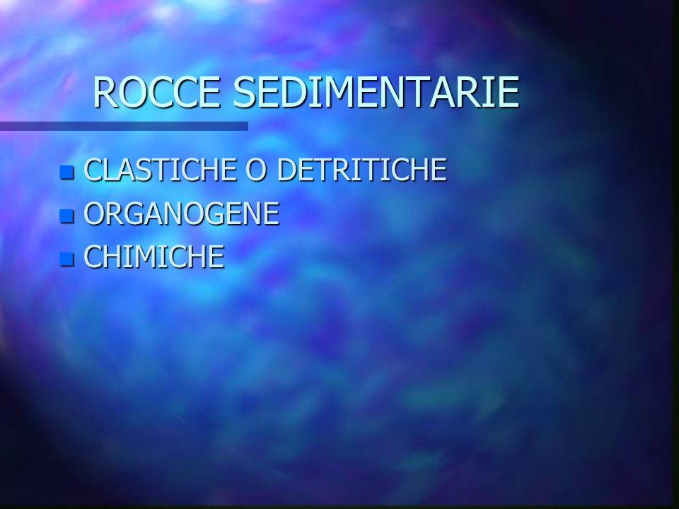 ROCCE SEDIMENTARIE n CLASTICHE O DETRITICHE n ORGANOGENE n CHIMICHE