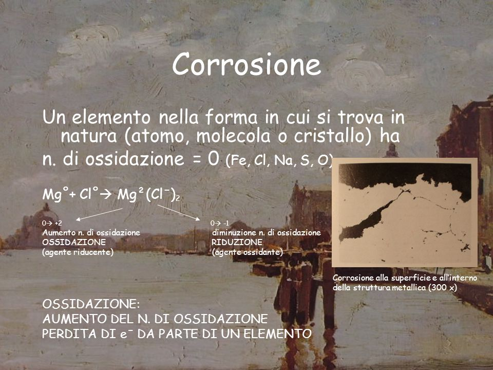 Azione sui metalli Rame e bronzo SO 2 e CO 2 (con la formazione dei rispettivi acidi) Patine verdastre costituite da carbonati basici e solfati basici