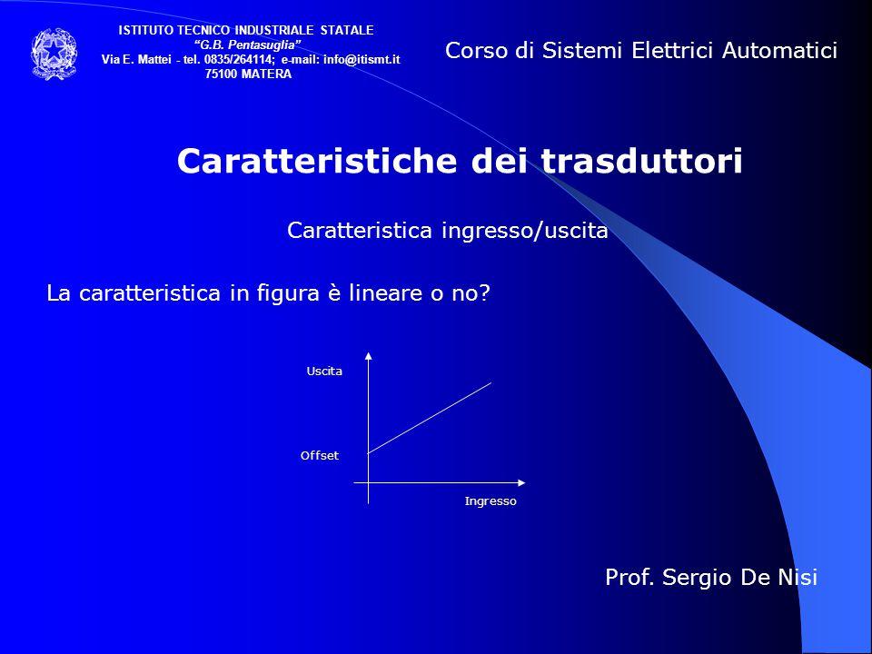Caratteristiche dei trasduttori Caratteristica ingresso/uscita La caratteristica in figura è lineare o no? Corso di Sistemi Elettrici Automatici ISTIT