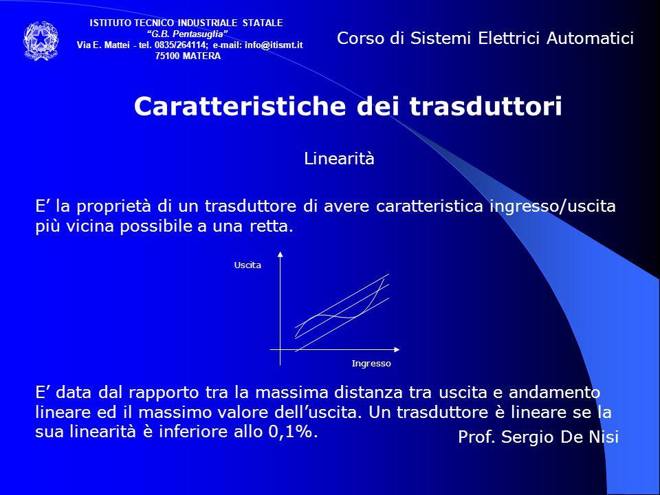 Caratteristiche dei trasduttori Linearità E' la proprietà di un trasduttore di avere caratteristica ingresso/uscita più vicina possibile a una retta.