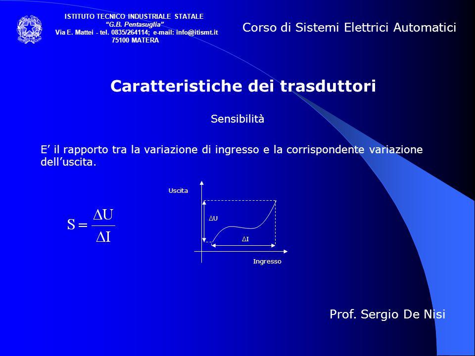 Caratteristiche dei trasduttori Sensibilità E' il rapporto tra la variazione di ingresso e la corrispondente variazione dell'uscita. Corso di Sistemi