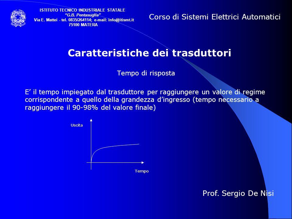 Caratteristiche dei trasduttori Tempo di risposta E' il tempo impiegato dal trasduttore per raggiungere un valore di regime corrispondente a quello de