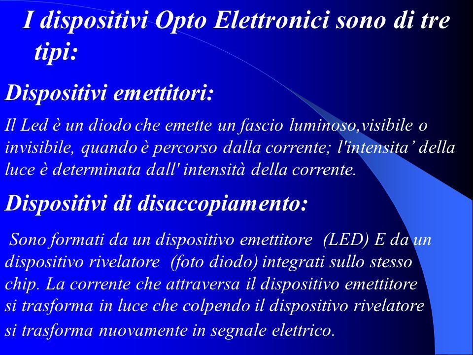 I dispositivi Opto Elettronici sono di tre tipi: Dispositivi emettitori: Il Led è un diodo che emette un fascio luminoso,visibile o invisibile, quando