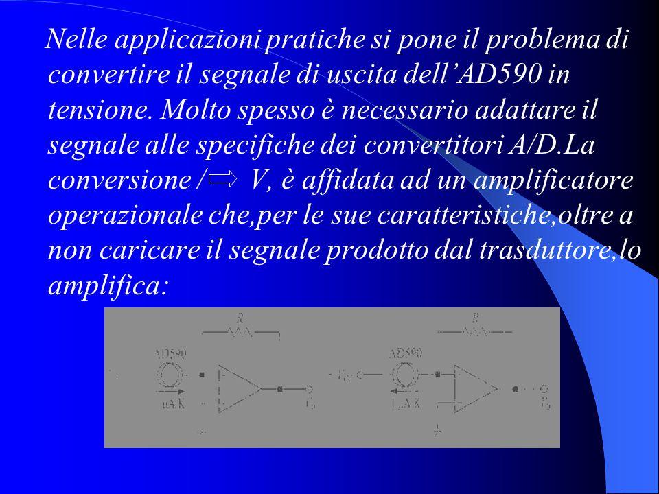 Nelle applicazioni pratiche si pone il problema di convertire il segnale di uscita dell'AD590 in tensione. Molto spesso è necessario adattare il segna