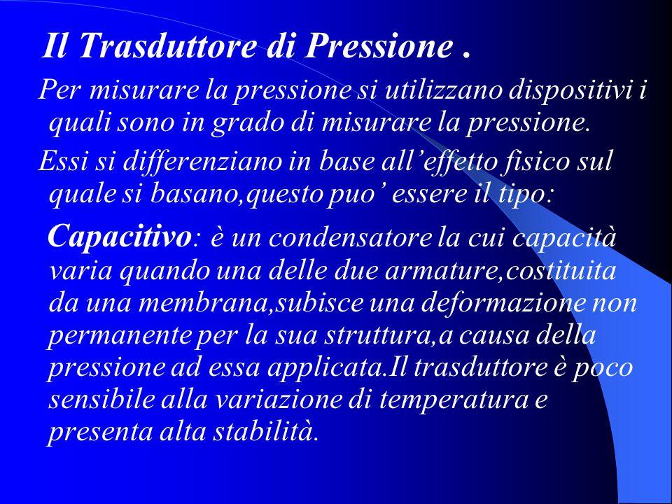 Il Trasduttore di Pressione. Per misurare la pressione si utilizzano dispositivi i quali sono in grado di misurare la pressione. Essi si differenziano