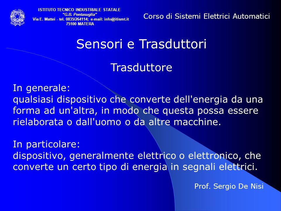 """Prof. Sergio De Nisi Corso di Sistemi Elettrici Automatici ISTITUTO TECNICO INDUSTRIALE STATALE """"G.B. Pentasuglia"""" Via E. Mattei - tel. 0835/264114; e"""