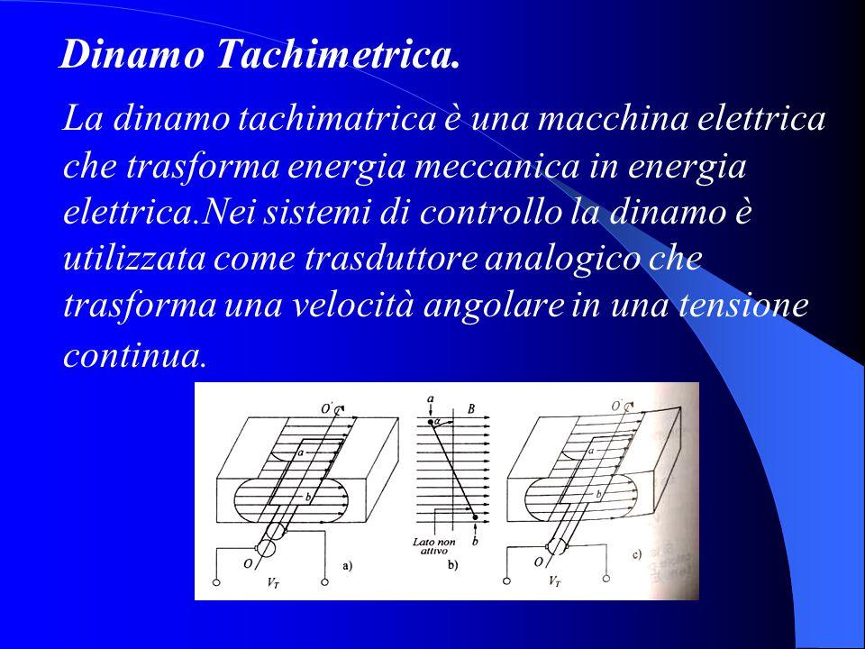 Dinamo Tachimetrica. La dinamo tachimatrica è una macchina elettrica che trasforma energia meccanica in energia elettrica.Nei sistemi di controllo la