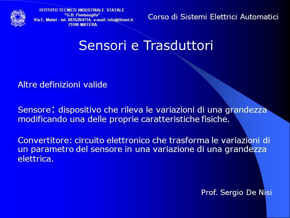 Altre definizioni valide Sensore : dispositivo che rileva le variazioni di una grandezza modificando una delle proprie caratteristiche fisiche. Conver