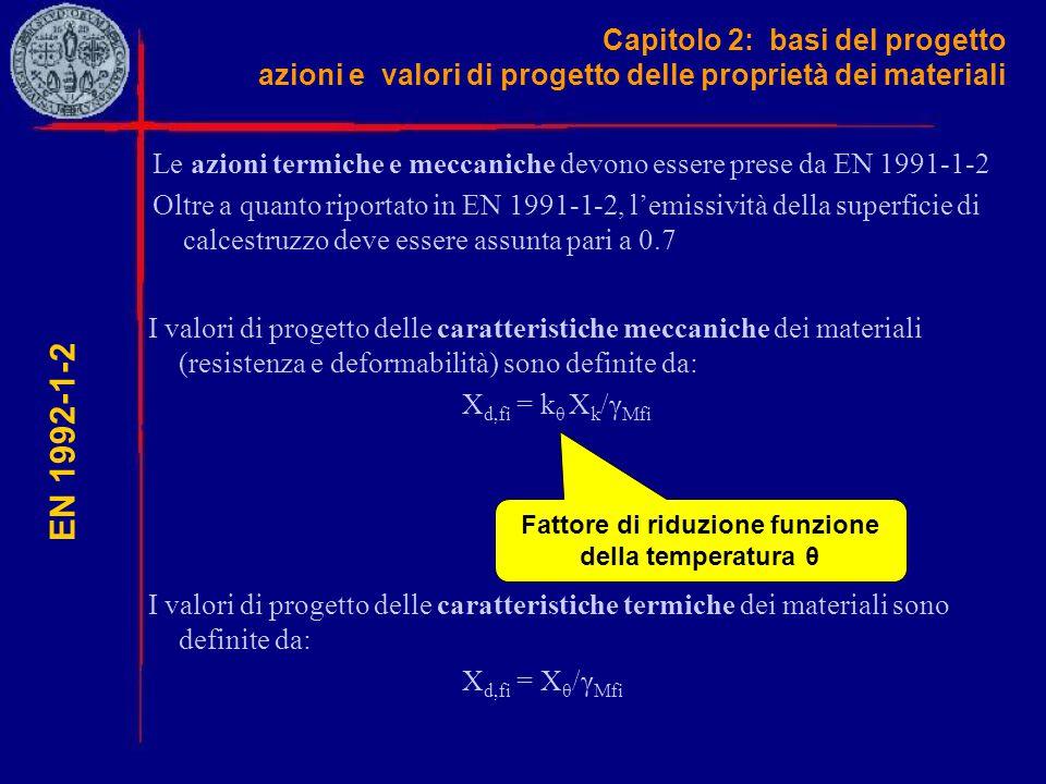 Capitolo 2: basi del progetto azioni e valori di progetto delle proprietà dei materiali EN 1992-1-2 Le azioni termiche e meccaniche devono essere pres