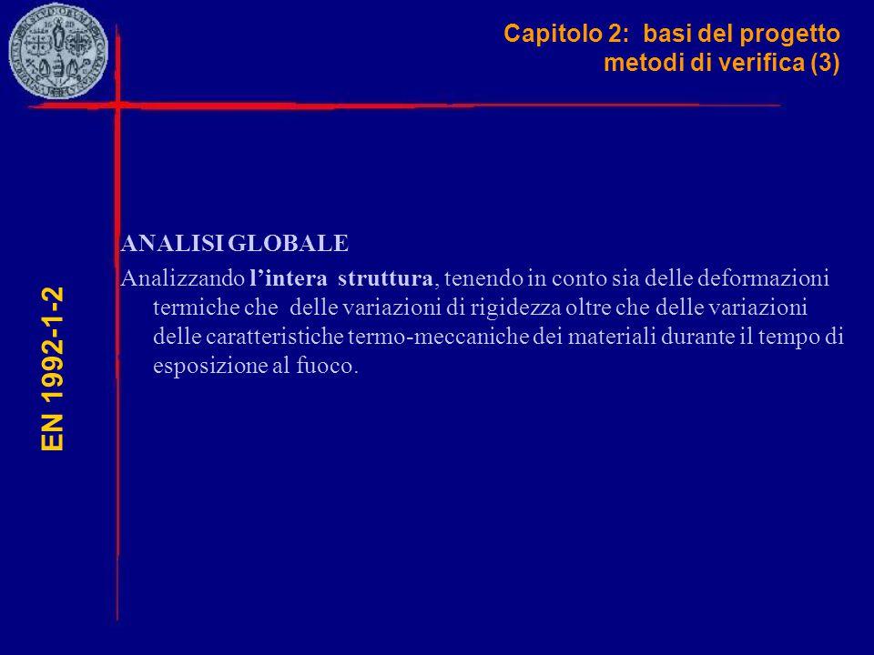Capitolo 2: basi del progetto metodi di verifica (3) EN 1992-1-2 ANALISI GLOBALE Analizzando l'intera struttura, tenendo in conto sia delle deformazio
