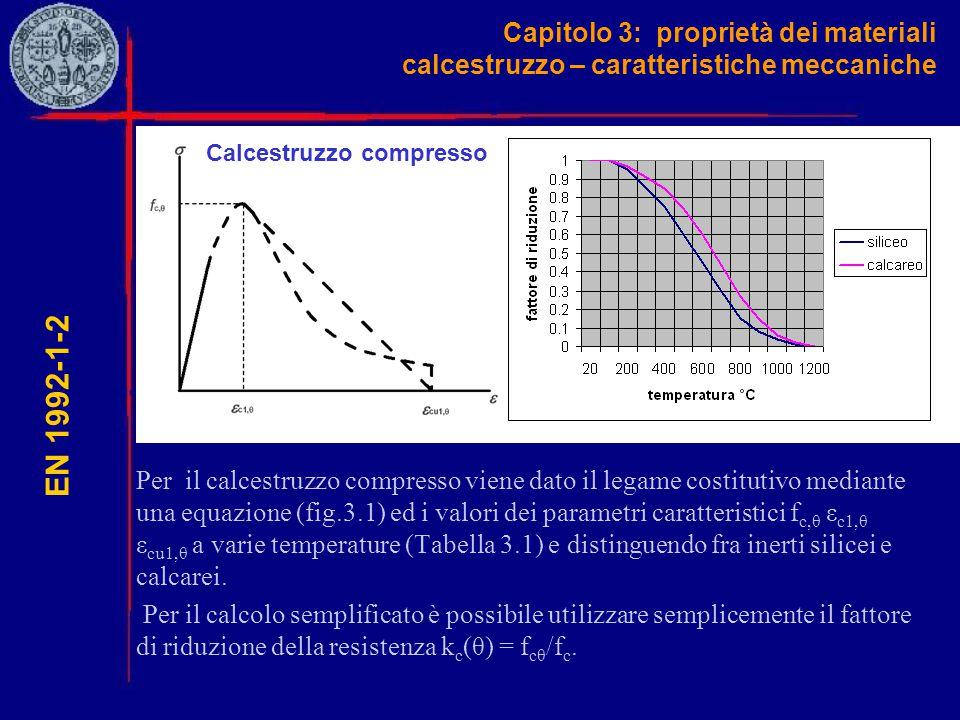 Capitolo 3: proprietà dei materiali calcestruzzo – caratteristiche meccaniche Per il calcestruzzo compresso viene dato il legame costitutivo mediante