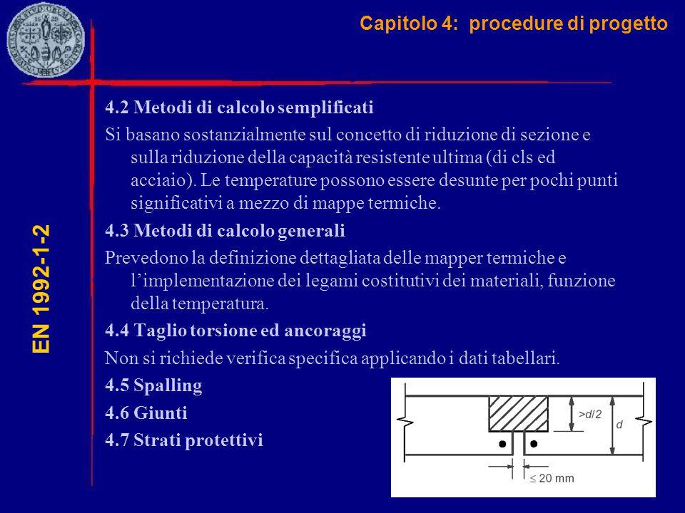 Capitolo 4: procedure di progetto EN 1992-1-2 4.2 Metodi di calcolo semplificati Si basano sostanzialmente sul concetto di riduzione di sezione e sull