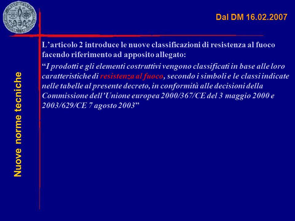 """Dal DM 16.02.2007 L'articolo 2 introduce le nuove classificazioni di resistenza al fuoco facendo riferimento ad apposito allegato: """"I prodotti e gli e"""