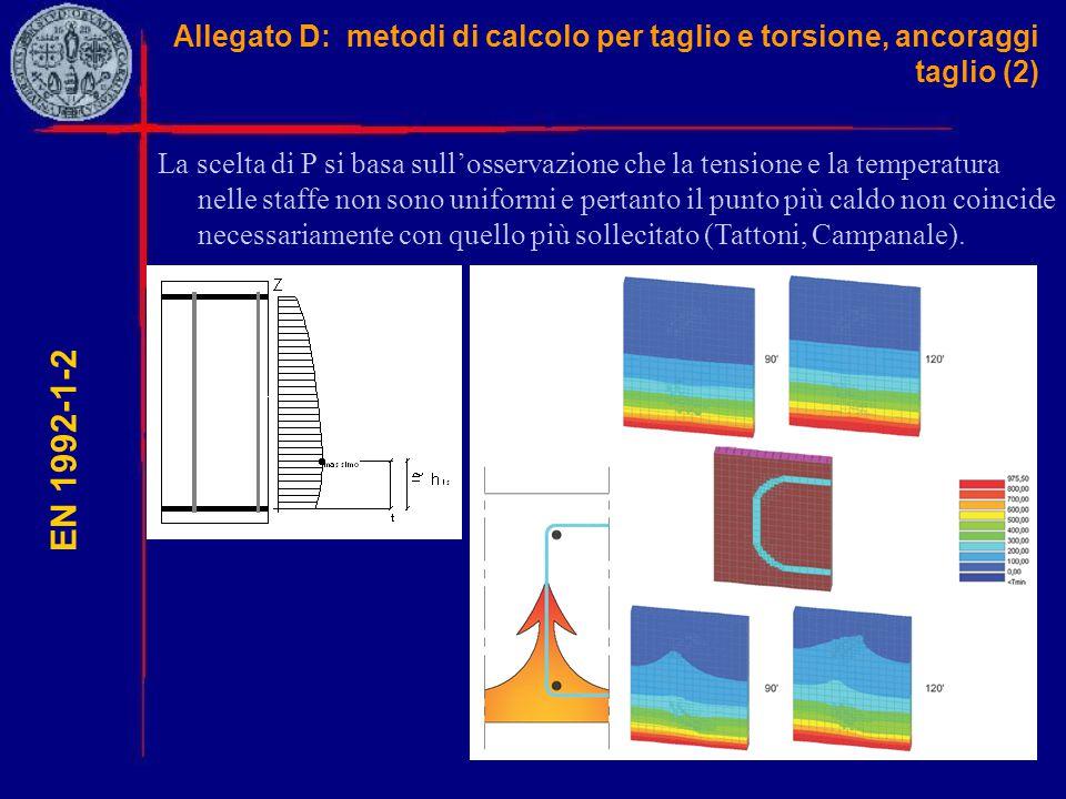 Allegato D: metodi di calcolo per taglio e torsione, ancoraggi taglio (2) EN 1992-1-2 La scelta di P si basa sull'osservazione che la tensione e la te