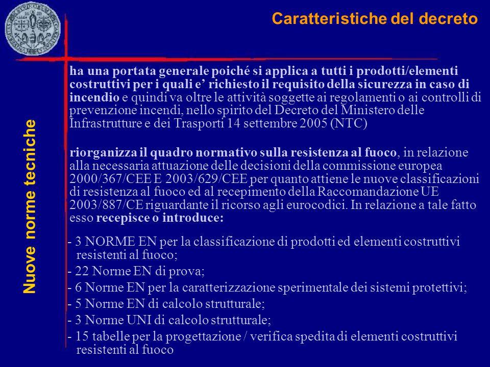 Caratteristiche del decreto - 3 NORME EN per la classificazione di prodotti ed elementi costruttivi resistenti al fuoco; - 22 Norme EN di prova; - 6 N