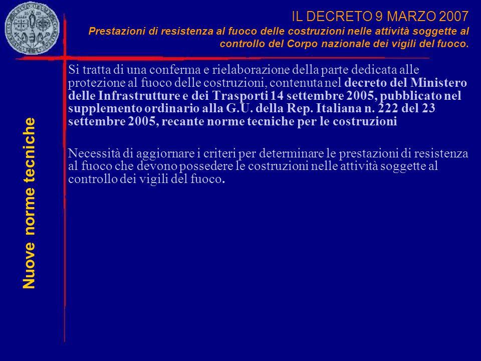 IL DECRETO 9 MARZO 2007 Prestazioni di resistenza al fuoco delle costruzioni nelle attività soggette al controllo del Corpo nazionale dei vigili del f