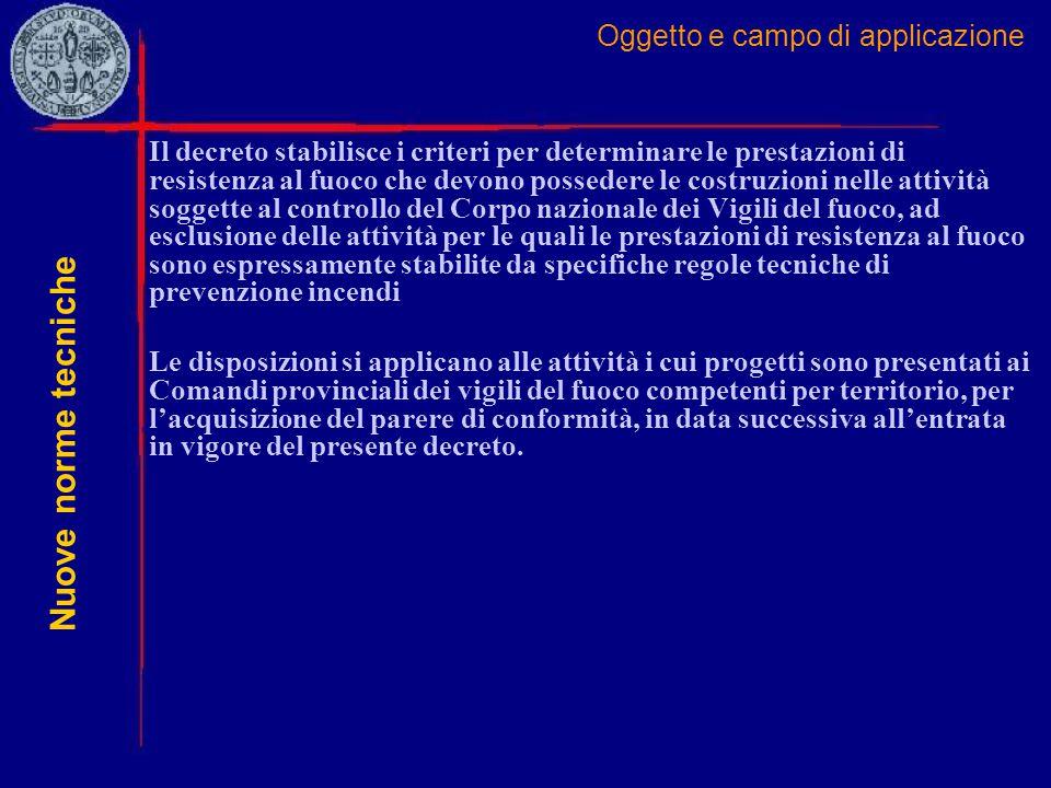 Oggetto e campo di applicazione Il decreto stabilisce i criteri per determinare le prestazioni di resistenza al fuoco che devono possedere le costruzi