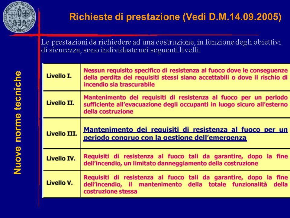 Richieste di prestazione (Vedi D.M.14.09.2005) Le prestazioni da richiedere ad una costruzione, in funzione degli obiettivi di sicurezza, sono individ