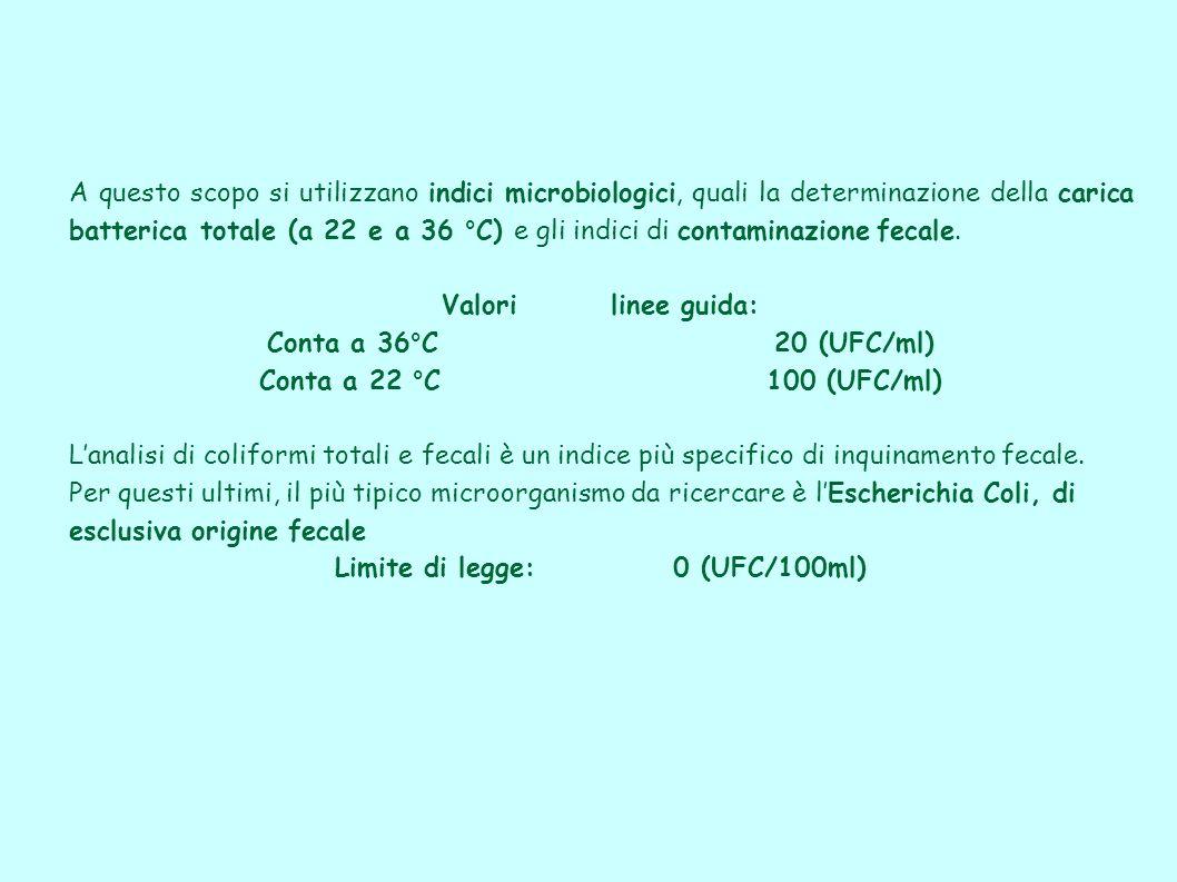 A questo scopo si utilizzano indici microbiologici, quali la determinazione della carica batterica totale (a 22 e a 36 °C) e gli indici di contaminazi