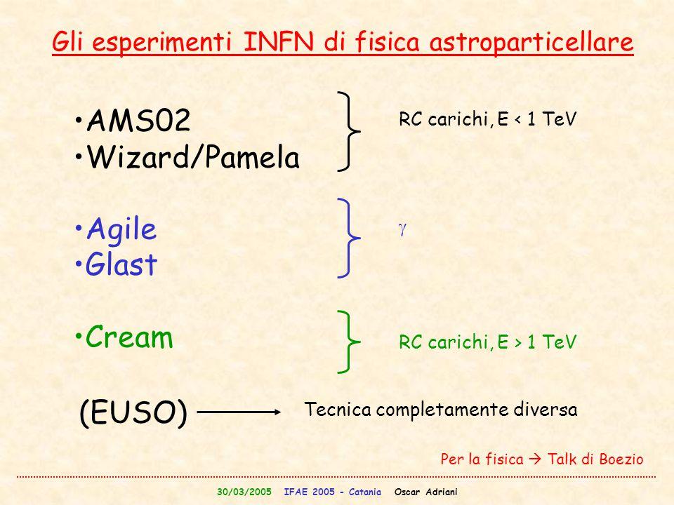 30/03/2005 IFAE 2005 - Catania Oscar Adriani Gli esperimenti INFN di fisica astroparticellare AMS02 Wizard/Pamela Agile Glast Cream RC carichi, E < 1