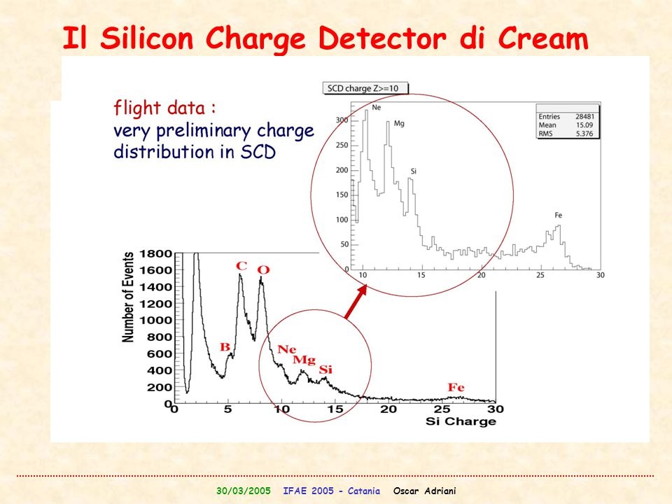 30/03/2005 IFAE 2005 - Catania Oscar Adriani Il Silicon Charge Detector di Cream