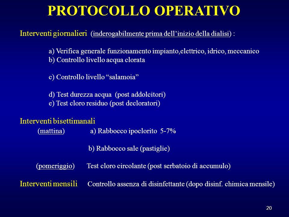 20 PROTOCOLLO OPERATIVO Interventi giornalieri (inderogabilmente prima dell'inizio della dialisi) : a) Verifica generale funzionamento impianto,elettrico, idrico, meccanico b) Controllo livello acqua clorata c) Controllo livello salamoia d) Test durezza acqua (post addolcitori) e) Test cloro residuo (post decloratori) Interventi bisettimanali (mattina) a) Rabbocco ipoclorito 5-7% b) Rabbocco sale (pastiglie) (pomeriggio) Test cloro circolante (post serbatoio di accumulo) Interventi mensili Controllo assenza di disinfettante (dopo disinf.