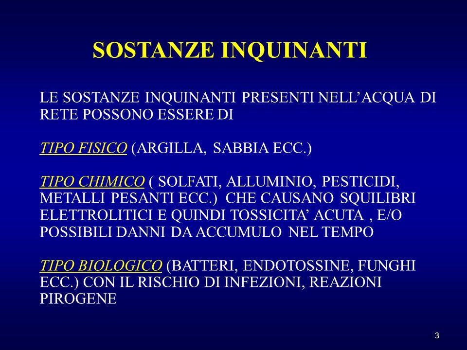 LE SOSTANZE INQUINANTI PRESENTI NELL'ACQUA DI RETE POSSONO ESSERE DI TIPO FISICO (ARGILLA, SABBIA ECC.) TIPO CHIMICO ( SOLFATI, ALLUMINIO, PESTICIDI, METALLI PESANTI ECC.) CHE CAUSANO SQUILIBRI ELETTROLITICI E QUINDI TOSSICITA' ACUTA, E/O POSSIBILI DANNI DA ACCUMULO NEL TEMPO TIPO BIOLOGICO (BATTERI, ENDOTOSSINE, FUNGHI ECC.) CON IL RISCHIO DI INFEZIONI, REAZIONI PIROGENE SOSTANZE INQUINANTI 3