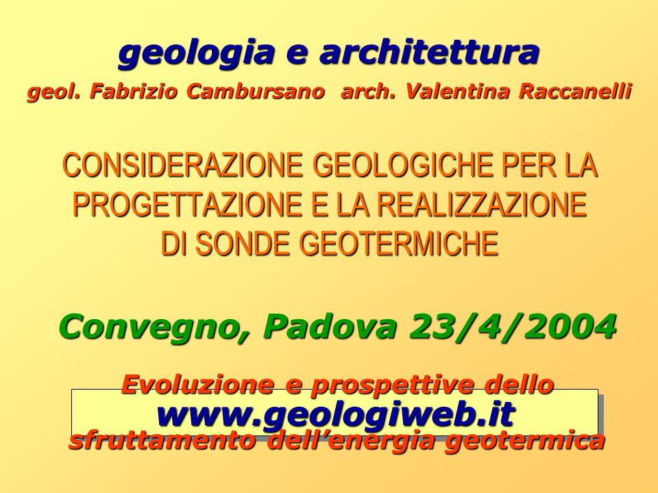 CONSIDERAZIONE GEOLOGICHE PER LA PROGETTAZIONE E LA REALIZZAZIONE DI SONDE GEOTERMICHE geologia e architettura geologia e architettura geol. Fabrizio