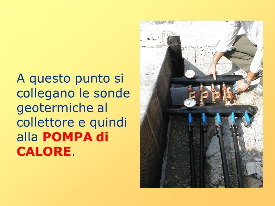 A questo punto si collegano le sonde geotermiche al collettore e quindi alla POMPA di CALORE.
