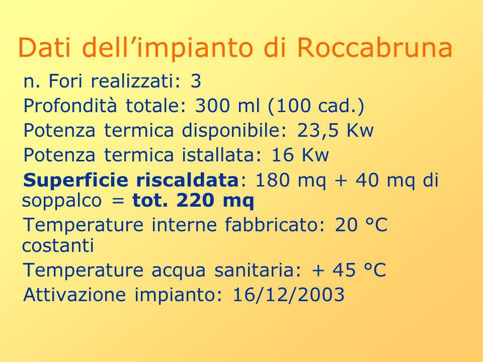 n. Fori realizzati: 3 Profondità totale: 300 ml (100 cad.) Potenza termica disponibile: 23,5 Kw Potenza termica istallata: 16 Kw Superficie riscaldata